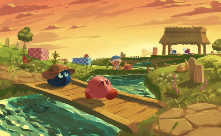 bobo_(kirby) bridge bug butterfly cattail checkered chip_(kirby) closed_eyes dot_mouth gooey gordo hat insect kirby kirby_(series) lalala_(kirby) lololo_(kirby) looking_up plant poppy_bros_jr river scarfy smile star_(symbol) sun_hat sunset suyasuyabi tree