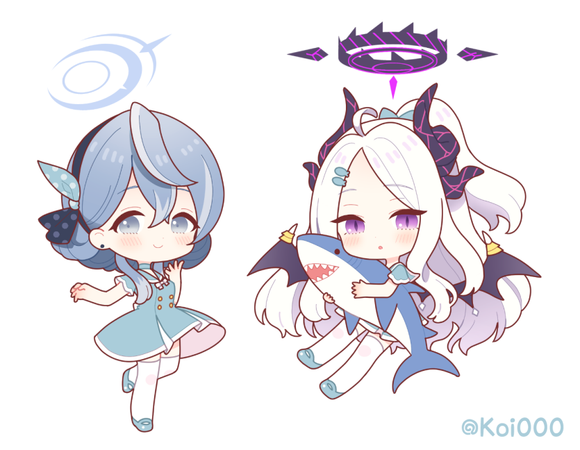 2girls :o bangs black_hairband black_wings blue_archive blue_dress blue_footwear blush character_request chibi closed_mouth curled_horns dress earrings eyebrows_visible_through_hair fish_hair_ornament grey_eyes grey_hair hair_ornament hairband halo hina_(blue_archive) horns jewelry long_hair multiple_girls multiple_horns nishiki_koi object_hug parted_bangs parted_lips ponytail shoes short_sleeves simple_background smile stud_earrings stuffed_animal stuffed_shark stuffed_toy thigh-highs twitter_username very_long_hair white_background white_hair white_legwear wings