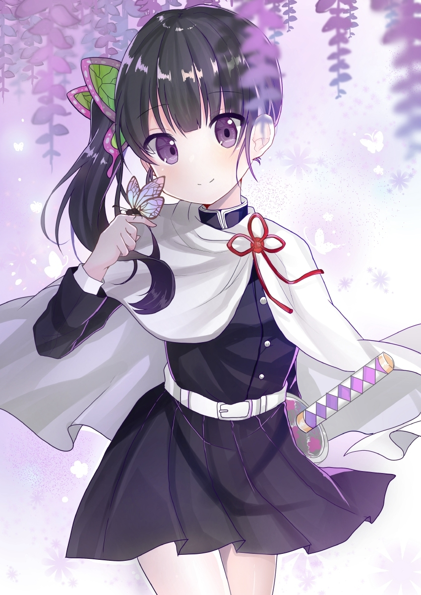 1girl bangs belt black_hair black_jacket blush bug butterfly butterfly_hair_ornament cloak closed_mouth commentary_request cowboy_shot disconnected_mouth doko_ka_no_hosono eyebrows_visible_through_hair flower hair_ornament highres insect jacket katana kimetsu_no_yaiba long_hair long_sleeves looking_at_viewer pink_flower pleated_skirt shirt side_ponytail skirt smile solo sword tsuyuri_kanao violet_eyes weapon white_belt white_cloak white_shirt wisteria