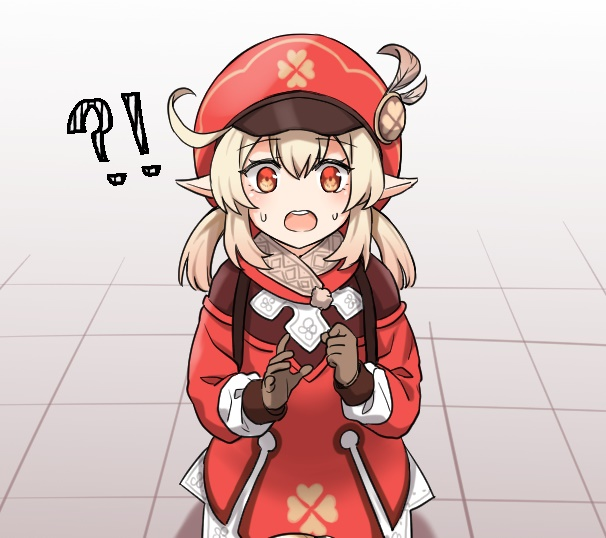 !? 1girl :o ahoge backpack bag bangs brown_gloves brown_scarf cabbie_hat clenched_hand clover_print coat commentary dulldull eyebrows_visible_through_hair genshin_impact gloves hair_between_eyes hat klee_(genshin_impact) light_brown_hair long_hair looking_at_viewer low_twintails orange_eyes pointy_ears randoseru red_coat red_headwear scarf sidelocks solo surprised sweat tile_floor tiles twintails