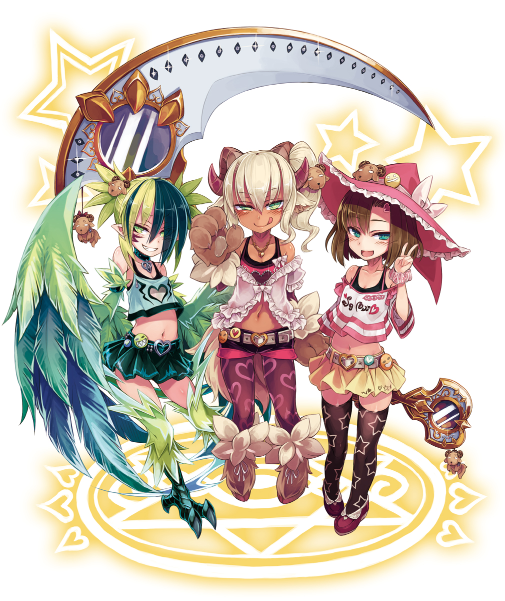 3girls :d :q alternate_design aqua_eyes asymmetrical_bangs badge bangs baphomet_(monster_girl_encyclopedia) bare_shoulders belt belt_buckle blonde_hair blush brown_hair buckle claws collarbone commentary_request crop_top dark-skinned_female dark_skin eyebrows_visible_through_hair eyes_visible_through_hair facial_mark feathered_wings frilled_hat frills full_body green_eyes green_hair grin hair_between_eyes hair_over_one_eye hat heart heart_buckle heart_print highres hooves horns jewelry kenkou_cross legwear_under_shorts long_hair looking_at_viewer midriff miniskirt monster_girl_encyclopedia multicolored_hair multiple_girls naughty_face navel necklace official_art open_mouth oversized_object pantyhose paws print_legwear scythe short_hair short_shorts shorts side_ponytail simple_background skirt smile star_(symbol) star_print starry_background thigh-highs thunderbird_(monster_girl_encyclopedia) tongue tongue_out two-tone_hair uneven_eyes v winged_arms wings witch_(monster_girl_encyclopedia) witch_hat