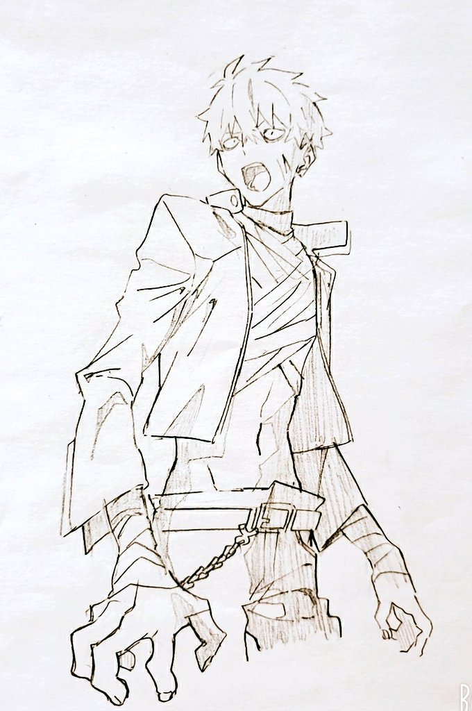 1boy bandages belt chain gauma greyscale gridman_universe hair_behind_ear looking_to_the_side male_focus manamisan monochrome navel open_hands open_mouth sanpaku solo ssss.dynazenon traditional_media