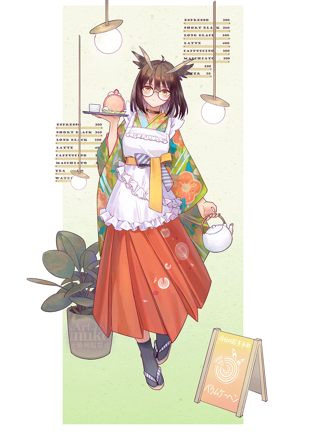 1girl apron arknights artist_name bangs black_legwear border cake cake_slice choker commentary_request cup eyebrows_visible_through_hair food glasses green_background hair_between_eyes hanging_light highres holding holding_teapot holding_tray long_sleeves menu_board plant potted_plant sandals sign silence_(arknights) teacup teapot tray white_border zhaitengjingcang