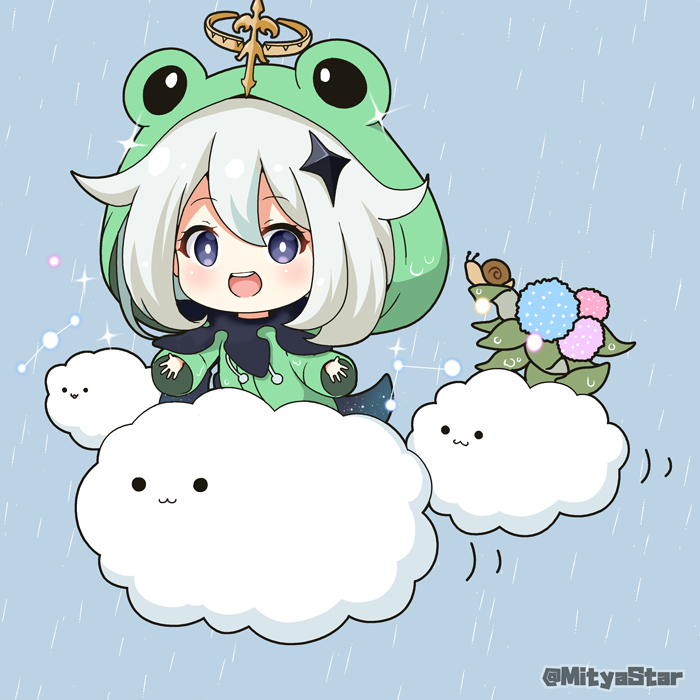 1girl :3 :d animal_hood bangs blue_background blue_flower blush closed_mouth clouds commentary_request constellation eyebrows_visible_through_hair flower frog_hood genshin_impact green_jacket grey_eyes grey_hair hair_between_eyes halo hood hood_up hooded_jacket hydrangea jacket looking_at_viewer miicha open_mouth paimon_(genshin_impact) pink_flower rain raincoat smile snail solid_circle_eyes solo sparkle twitter_username upper_teeth