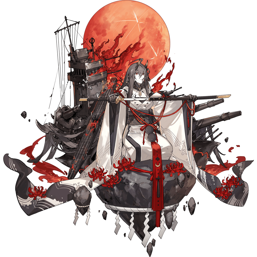 1girl ahoge akagi_(black_surge_night) bangs black_surge_night colored_skin coral flight_deck flower full_moon hair_between_eyes hair_in_mouth holding holding_sheath holding_sword holding_weapon horns japanese_clothes katana kimono long_hair long_sleeves moon obi official_art pale_skin red_eyes red_flower red_moon redhead rigging sash sheath sitting solo spider_lily starshadowmagician sword transparent_background unsheathing very_long_hair weapon white_kimono white_skin wide_sleeves