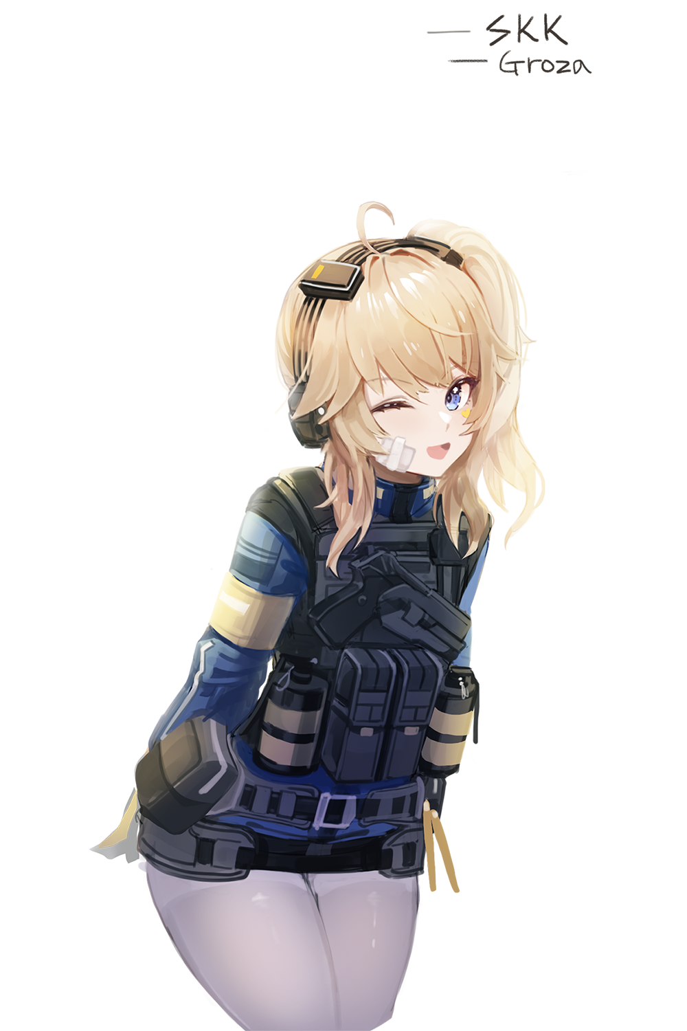 1girl :d ahoge arms_behind_back bandage_on_face bandages bangs blonde_hair blue_eyes blue_jacket cowboy_shot dano explosive girls_frontline girls_frontline_2:_exilium grenade gun handgun headset highres holster holstered_weapon jacket load_bearing_vest long_hair long_sleeves looking_at_viewer one_eye_closed open_mouth pantyhose pouch side_ponytail smile solo tactical_clothes vepley_(girls_frontline_2) weapon white_background white_legwear