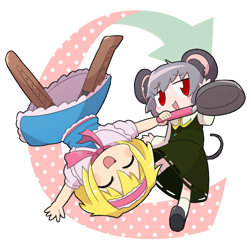 2girls alice_margatroid animal_ears arrow_(symbol) bangs blonde_hair blue_dress blush boots brown_footwear closed_eyes commentary_request cookie_(touhou) dress eyebrows_visible_through_hair frilled_dress frilled_hairband frills frying_pan full_body green_skirt green_vest grey_hair hairband holding holding_frying_pan ichigo_(cookie) kasugai_(nicoseiga12232888) mouse_ears mouse_tail multiple_girls nazrin nyon_(cookie) open_mouth pink_hairband pink_neckwear red_eyes shirt short_hair skirt smile tail touhou vest white_background white_shirt
