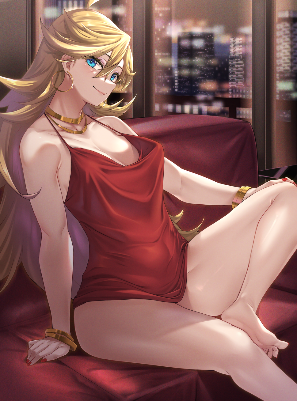 1girl bangle bare_legs bare_shoulders barefoot blonde_hair blue_eyes bracelet breasts camisole city cityscape earrings feet foot_out_of_frame gold_bracelet gold_earrings hair_between_eyes hand_on_own_knee highres hoop_earrings jewelry legs lips long_hair looking_at_viewer medium_breasts moisture_(chichi) nail_polish necklace panty_&_stocking_with_garterbelt panty_(psg) red_camisole red_nails sitting smile soles solo thighs toes