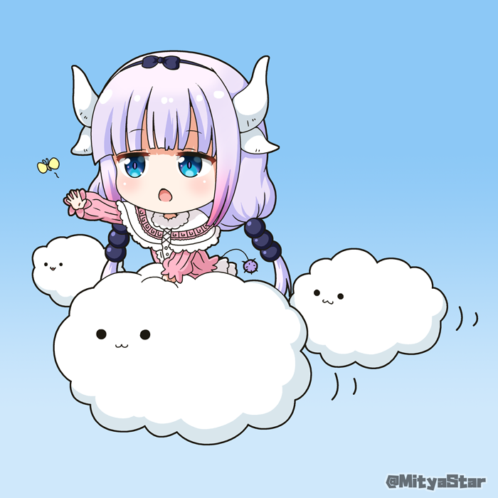 1girl :3 animal bangs blue_background blue_eyes blush bug butterfly capelet closed_mouth clouds commentary_request dragon_horns dress eyebrows_visible_through_hair gradient gradient_background gradient_hair horns insect kanna_kamui kobayashi-san_chi_no_maidragon long_sleeves miicha multicolored_hair open_mouth outstretched_arm pink_dress pink_hair puffy_long_sleeves puffy_sleeves purple_hair solid_circle_eyes solo tail twitter_username white_capelet