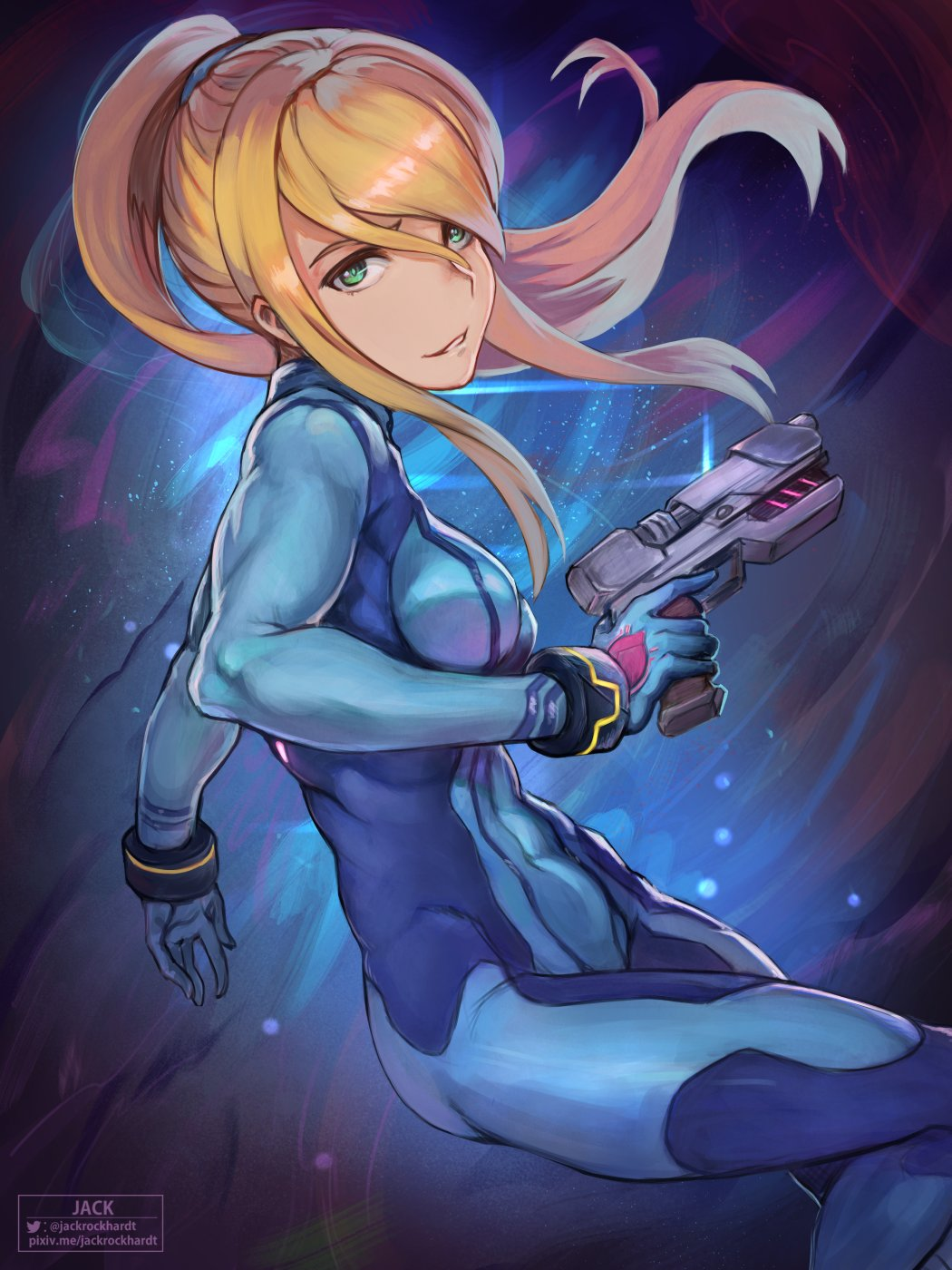 1girl blonde_hair blue_eyes bodysuit breasts gun highres jack_rockhardt large_breasts long_hair looking_at_viewer metroid metroid_dread mole mole_under_mouth ponytail samus_aran simple_background skin_tight smile solo weapon zero_suit