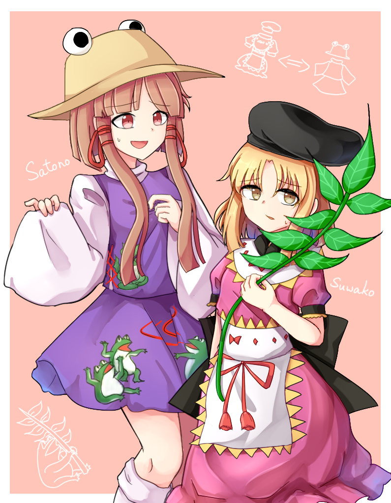2girls alternate_costume animal_print apron bangs black_bow black_headwear blonde_hair border bow brown_hair character_name collar cosplay costume_switch dress eyebrows_visible_through_hair frog_print hair_between_eyes hand_up hands_up hat long_hair long_sleeves looking_at_another moriya_suwako moriya_suwako_(cosplay) multiple_girls nishida_satono nishida_satono_(cosplay) open_mouth pink_background pink_dress plant puffy_short_sleeves puffy_sleeves purple_dress red_bow red_eyes short_hair short_sleeves smile socks standing tanabata touhou white_apron white_border white_collar white_legwear white_sleeves yellow_eyes yellow_headwear yu_cha