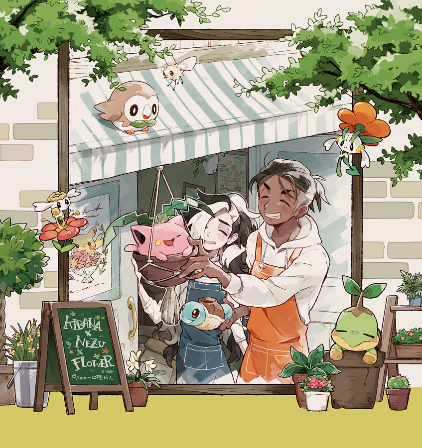 2boys alternate_costume apron bangs black_hair blush brown_hair character_name closed_eyes commentary_request cutiefly dark-skinned_male dark_skin eyeshadow flabebe flabebe_(red) floette floette_(orange) flower_pot gen_1_pokemon gen_2_pokemon gen_4_pokemon gen_6_pokemon gen_7_pokemon grey_apron grey_eyeshadow grin gym_leader hair_over_one_eye hand_up holding hood hoodie hoppip in_pot long_hair makeup male_focus multicolored_hair multiple_boys orange_apron outdoors piers_(pokemon) pikachu pokemon pokemon_(game) pokemon_swsh raihan_(pokemon) rowlet saku_anna short_hair smile squirtle teeth themed_object turtwig two-tone_hair undercut watering_can white_hair white_hoodie