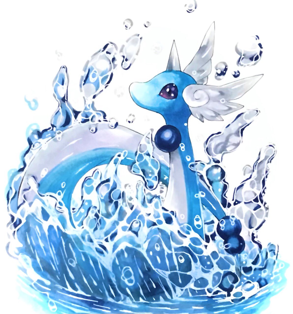 animal_focus blue_theme commentary dragonair gen_1_pokemon head_wings highres marker_(medium) mofuo no_humans partially_submerged pokemon pokemon_(creature) simple_background solo splashing traditional_media violet_eyes water white_background