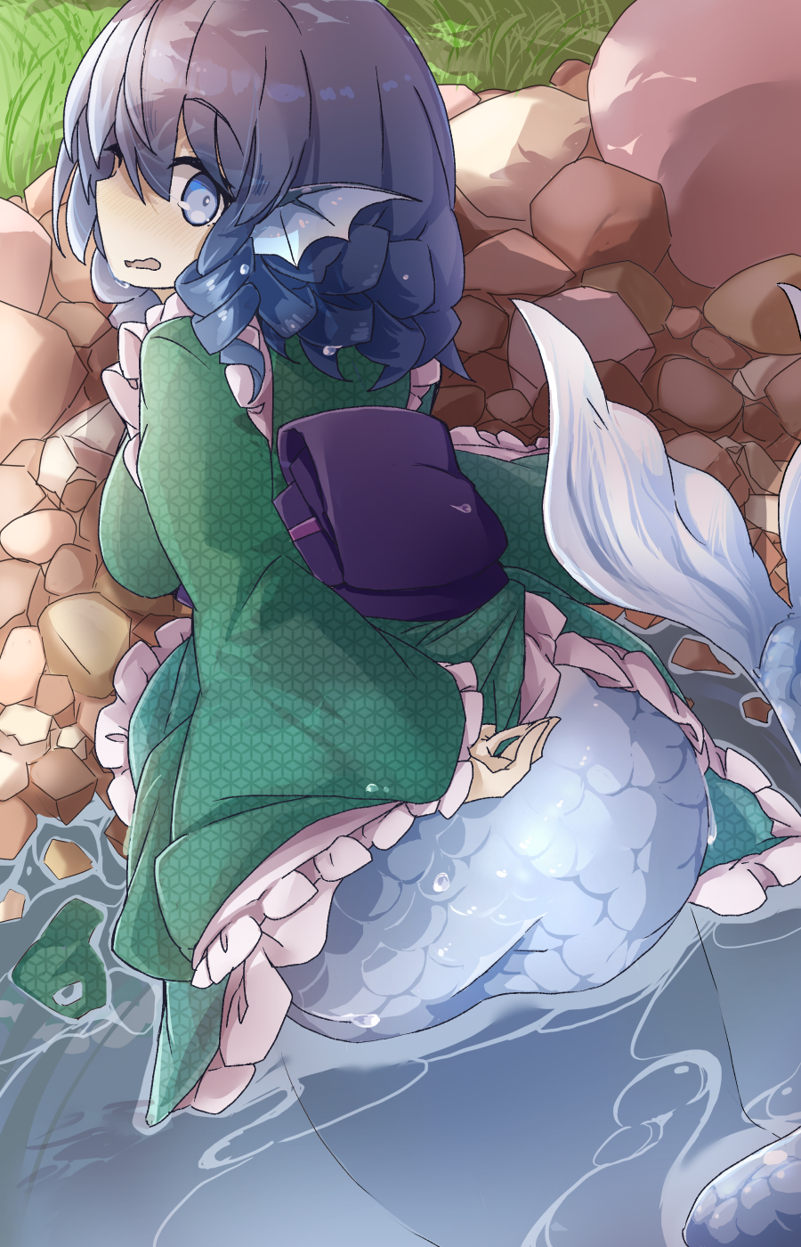 1girl arm_behind_back bangs blue_eyes blue_hair blush clothes_tug drill_locks eyebrows_visible_through_hair frilled_kimono frills from_behind grass green_kimono head_fins highres japanese_clothes kikkoumon kimono long_sleeves looking_at_viewer mermaid monster_girl nervous open_mouth outdoors purple_sash river sash short_hair solo stone touhou tyouseki wakasagihime wavy_mouth wide_sleeves
