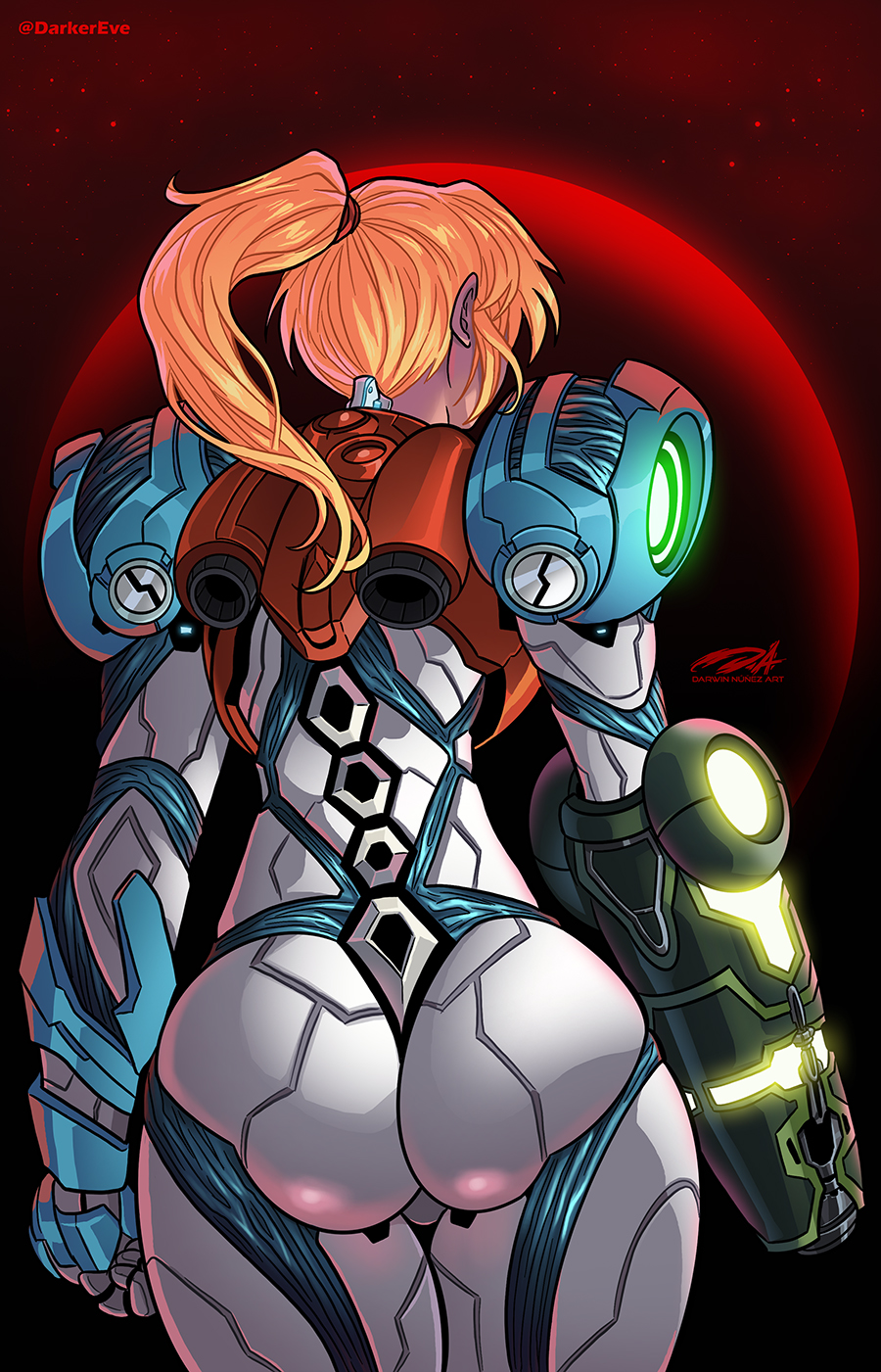 1girl arm_cannon artist_name ass back blonde_hair darkereve from_behind glowing highres jetpack metroid metroid_dread planet ponytail power_armor power_suit samus_aran solo space star_(sky) twitter_username weapon