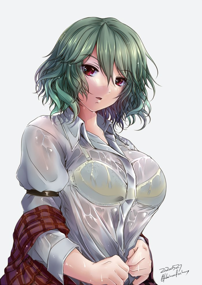 1girl bangs bra_through_clothes breasts dated eyebrows_visible_through_hair green_hair grey_background hair_between_eyes kazami_yuuka large_breasts looking_at_viewer off_shoulder parted_lips red_eyes see-through shirt short_hair sidate signature simple_background solo touhou upper_body wavy_hair wet wet_clothes wet_shirt