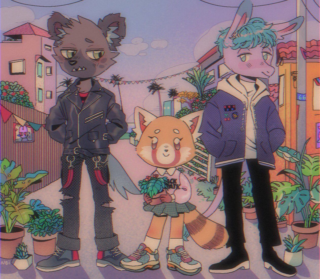 1girl 2boys aggressive_retsuko animal_ears architecture blue_eyes blush brown_eyes building casual cerealnei chain clouds concrete donkey fang fence flag furry green_eyes haida_(aggretsuko) holding hyena jacket leather leather_jacket long_sleeves looking_at_viewer multiple_boys palm_tree pastel_colors patch plant pole power_lines punk red_panda retsuko sanrio sharp_teeth shirt shoes skirt sneakers socks t-shirt tadano_(aggretsuko) tail teeth torn_clothes tree writing zipper