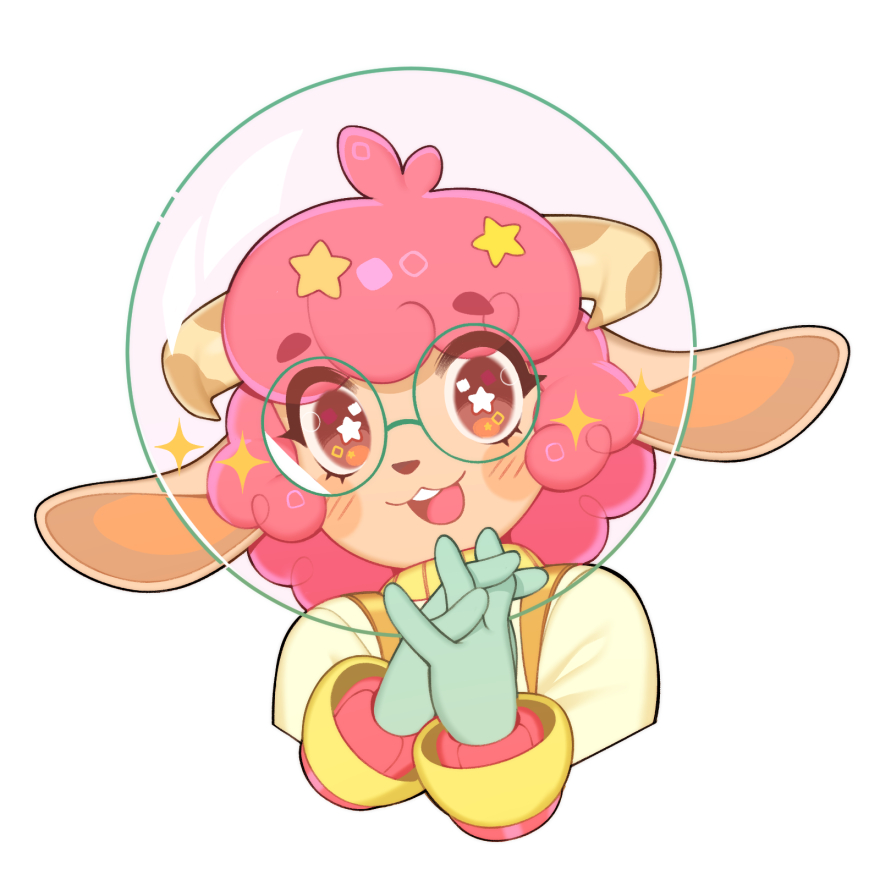 1girl animal_ears astronaut blush blush_stickers commission cropped_arms cropped_torso curled_horns english_commentary fishbowl_helmet glasses hair_ornament halphelt horns interlocked_fingers open_mouth orange_eyes original own_hands_together pink_hair sheep_ears sheep_girl sheep_horns simple_background smile solo space_helmet spacesuit star-shaped_pupils star_(symbol) star_hair_ornament symbol-shaped_pupils upper_body upper_teeth white_background wool