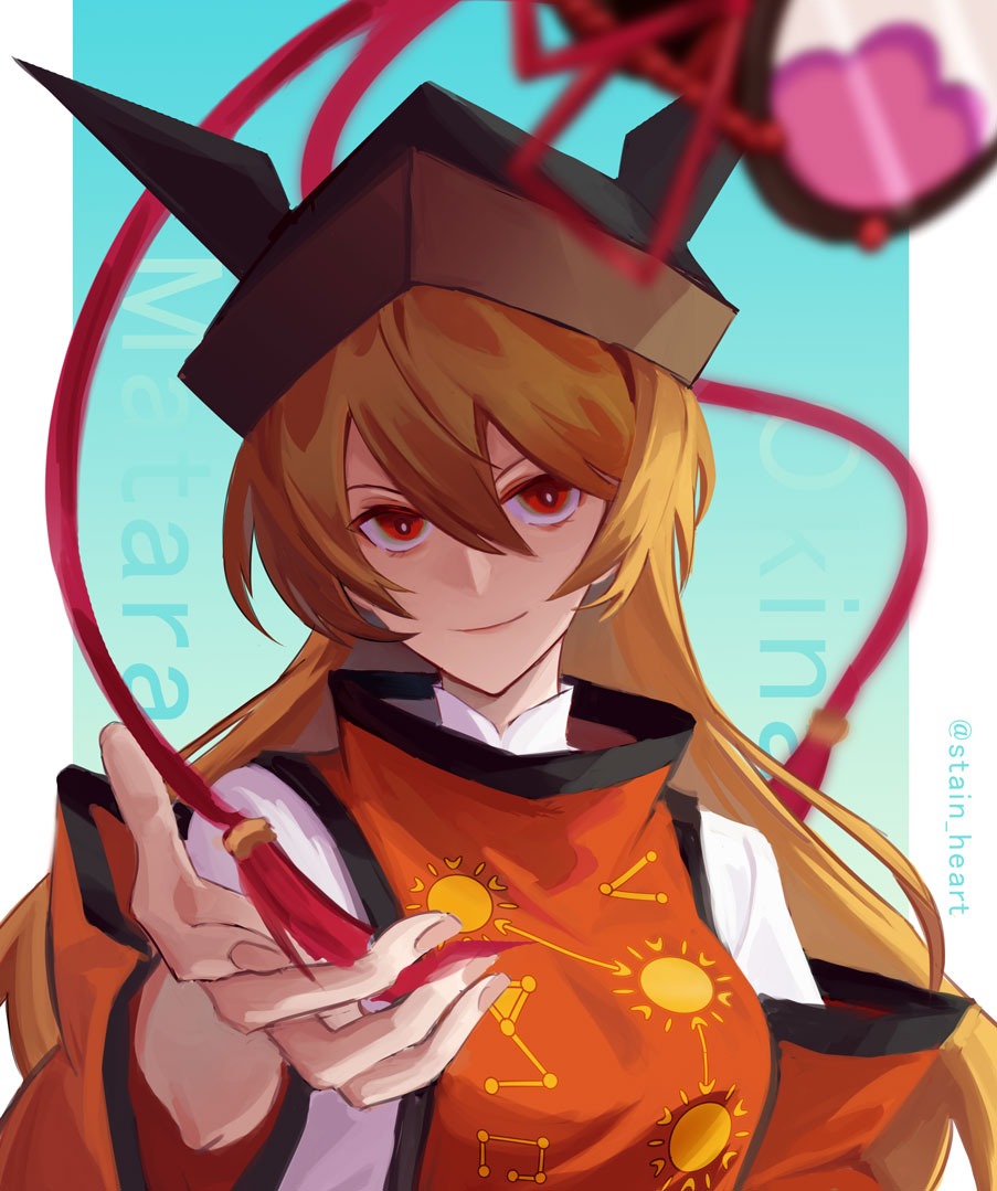 1girl arong artist_name bangs black_headwear blonde_hair blue_background border breasts brown_headwear cape closed_mouth detached_sleeves drum eyebrows_visible_through_hair gradient gradient_background hair_between_eyes hand_up hat instrument long_hair long_sleeves looking_at_viewer matara_okina medium_breasts orange_cape orange_sleeves red_eyes shirt simple_background smile solo sun_symbol touhou white_border white_shirt