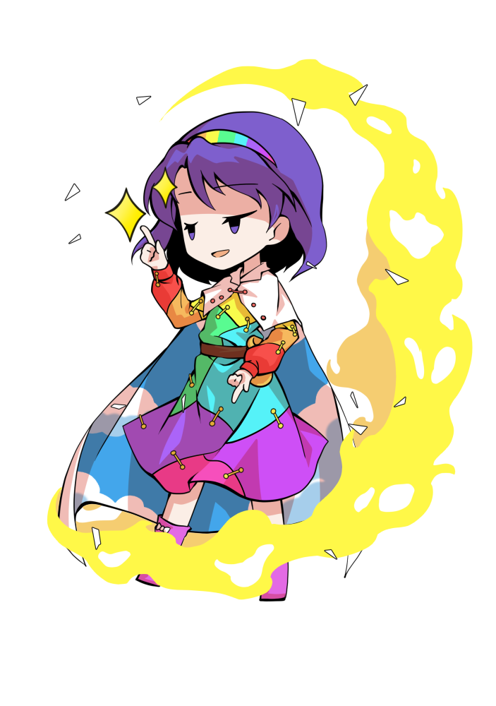 1girl arm_up bag bangs belt blue_dress blue_hairband blue_sky boots brown_belt buttons chibi cloak cloud_print clouds cloudy_sky collar dairi dress energy eyebrows_visible_through_hair green_dress green_hairband hair_between_eyes hairband hand_up long_sleeves looking_to_the_side multicolored multicolored_clothes multicolored_dress multicolored_hairband open_mouth orange_dress orange_sleeves pink_dress pink_footwear pink_hairband purple_dress purple_hair purple_hairband red_dress red_sleeves sky sky_print smile smug solo standing star_(symbol) tachi-e tenkyuu_chimata touhou violet_eyes white_cloak white_collar yellow_bag yellow_dress yellow_hairband