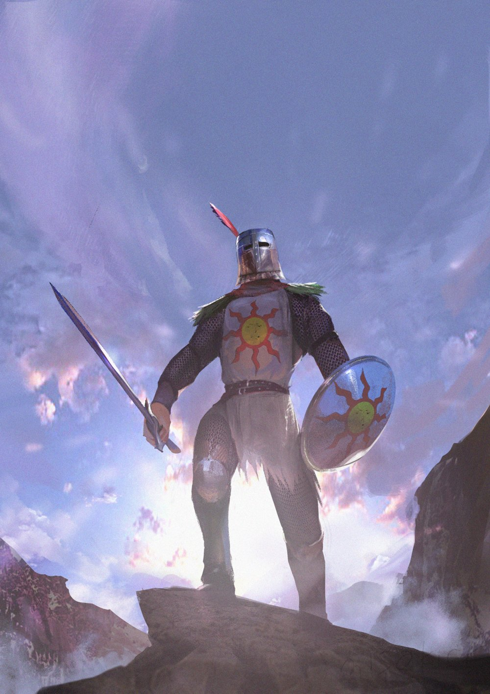 1boy armor blue_sky covered_face dark_souls_i day full_armor helmet highres holding holding_shield holding_sword holding_weapon mail_armor male_focus miso_katsu outdoors shield sky solaire_of_astora solo souls_(series) standing sword tabard weapon