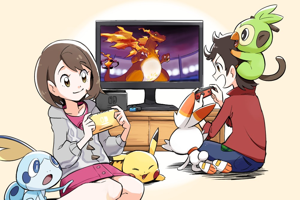 1boy 1girl ayo_(ayosanri009) brown_eyes brown_hair buttons cable_knit cardigan charizard closed_mouth collared_dress commentary_request controller dress eyelashes gen_1_pokemon gen_8_pokemon gigantamax gigantamax_charizard gloria_(pokemon) grey_cardigan grookey handheld_game_console holding holding_controller holding_handheld_game_console hooded_cardigan nintendo_switch on_head open_mouth pikachu pink_dress plaid playing_games pokemon pokemon_(creature) pokemon_(game) pokemon_on_head pokemon_swsh red_shirt scorbunny shirt short_hair sitting sleeves_rolled_up smile sobble starter_pokemon_trio television victor_(pokemon)