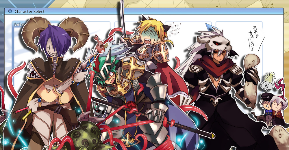 +_+ 6+boys :3 alchemist_(ragnarok_online) animal_ears armor assassin_cross_(ragnarok_online) bangs belt between_fingers black_cape black_coat black_pants black_sclera black_shirt blonde_hair blue_cape breastplate brown_belt brown_cape brown_coat brown_headwear brown_pants cabbie_hat cape cat_ears chainmail character_select chibi chibi_inset closed_mouth coat colored_sclera commentary_request creator_(ragnarok_online) cross crossed_arms dagger demon_horns emon-yu eyebrows_visible_through_hair feet_out_of_frame gauntlets gloom_(expression) gloves green_hair grin hair_between_eyes hat holding holding_dagger holding_polearm holding_spear holding_sword holding_weapon horns knife leg_armor living_clothes long_hair long_sleeves looking_to_the_side lord_knight_(ragnarok_online) male_focus mandragora_(ragnarok_online) mask monster multiple_boys open_clothes open_mouth open_shirt pants pauldrons polearm pouch priest_(ragnarok_online) purple_hair ragnarok_online red_cape red_coat red_eyes red_scarf sand scarf shaded_face shirt short_hair shoulder_armor skull sleeper_(ragnarok_online) smile spear spiked_gauntlets sword tabard teeth tentacles two-tone_coat user_interface vambraces vial visor_(armor) waist_cape weapon white_gloves white_hair