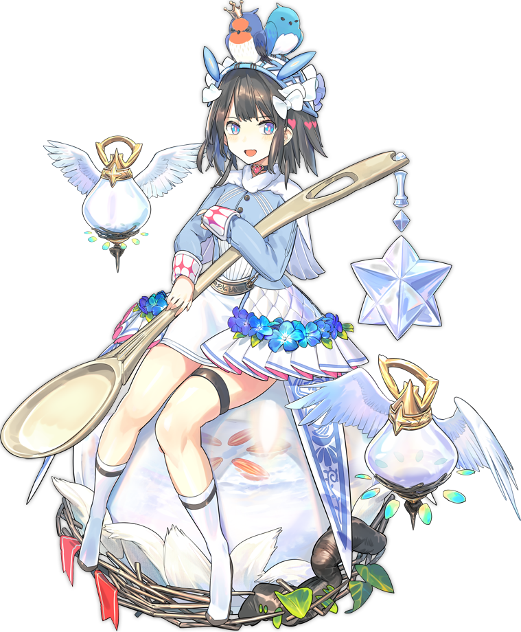 1girl :d animal_on_head ark_order artist_request bird bird's_nest_soup_(cuisine_dimension) bird_nest bird_on_head blue_eyes blue_flower blue_jacket boots capelet choker crown cuisine_dimension feathers flower hairband heart heart_choker holding holding_spoon jacket leaf lolita_hairband looking_at_viewer medium_hair mini_crown official_art on_head open_mouth seed sitting skirt smile socks solo spoon tachi-e thigh_strap transparent_background water white_capelet white_footwear white_legwear white_skirt