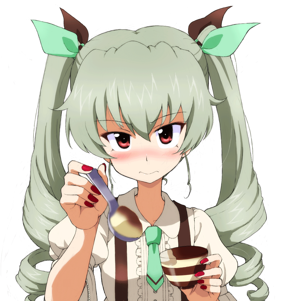 1girl anchovy_(girls_und_panzer) bangs black_ribbon blurry blurry_foreground blush center_frills closed_mouth collared_shirt depth_of_field drill_hair eyebrows_visible_through_hair feeding food frills girls_und_panzer green_hair green_neckwear green_ribbon hair_ribbon holding holding_spoon kayabakoro long_hair looking_at_viewer nail_polish pov pudding red_eyes red_nails ribbon shirt short_hair simple_background skirt solo spoon suspender_skirt suspenders sweatdrop twin_drills twintails upper_body white_background