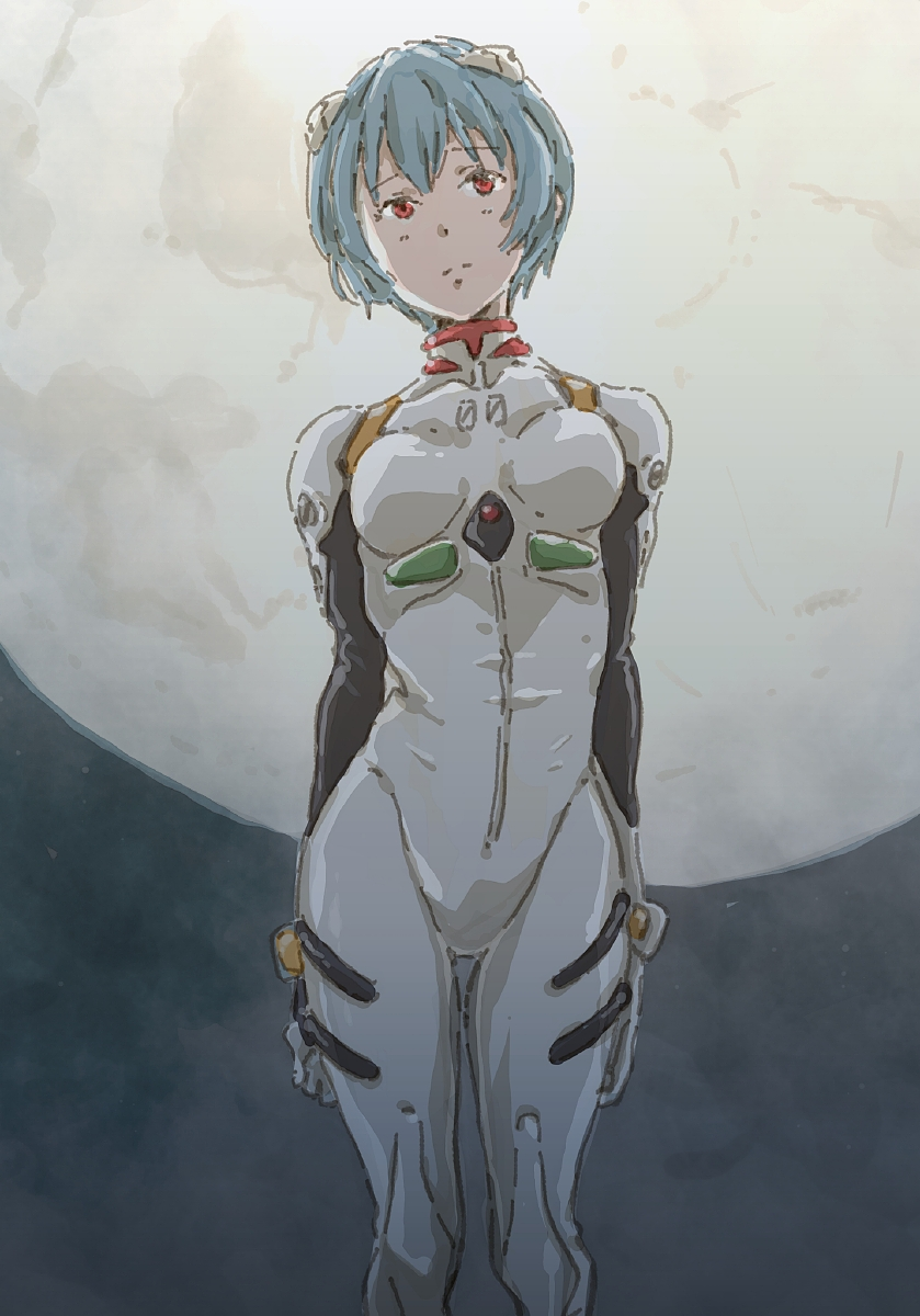 1girl arms_at_sides ayanami_rei bangs blue_hair bodysuit breasts cowboy_shot expressionless highres interface_headset looking_ahead monodevil moon neon_genesis_evangelion pilot_suit plugsuit red_eyes short_hair skinny small_breasts solo standing thigh_gap white_bodysuit