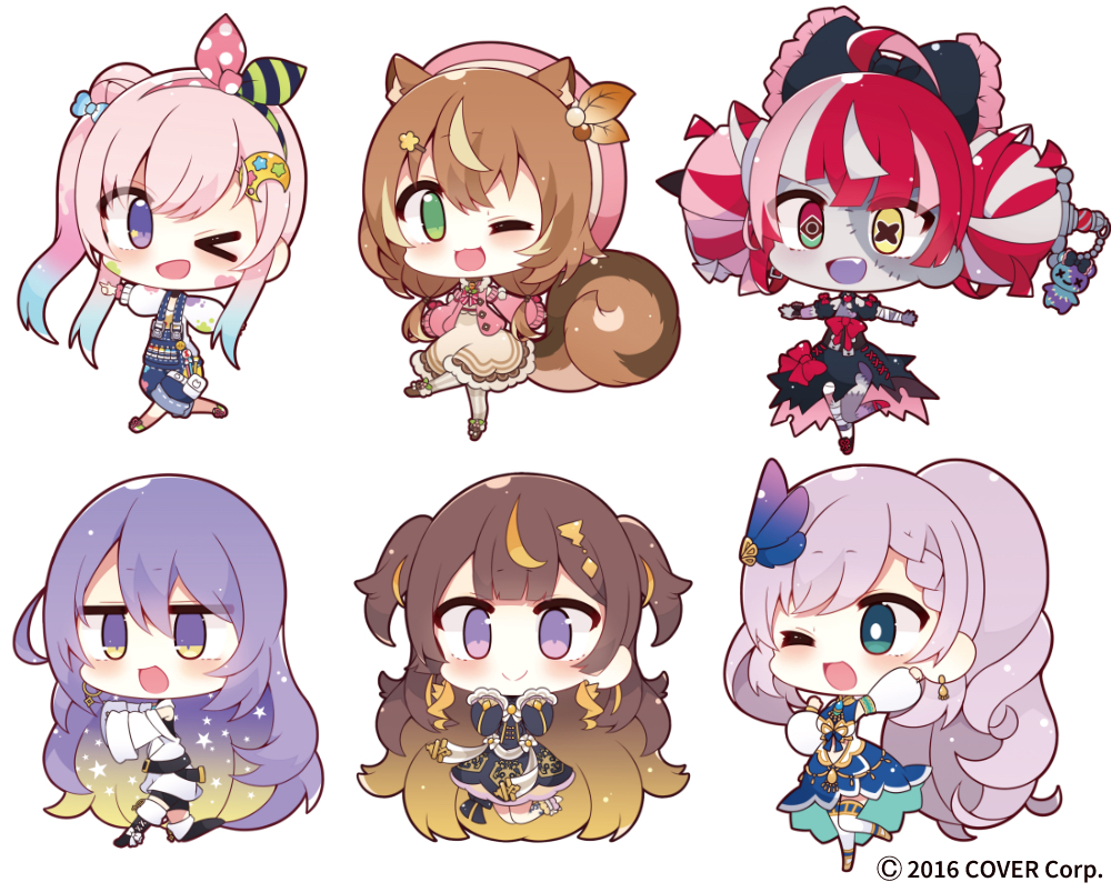 6+girls ahoge airani_iofifteen animal_ear_fluff animal_ears anya_melfissa aqua_eyes ayunda_risu bangs beige_dress black_bow black_dress black_footwear blonde_hair blue_dress blue_hair blush boots bow brown_hair chibi colored_inner_hair colored_skin commentary_request double_bun dress earrings everyone eyebrows_visible_through_hair full_body gradient_hair green_eyes grey_skin hair_behind_ear hair_bow heterochromia hololive hololive_indonesia jacket jewelry kureiji_ollie moona_hoshinova multicolored_hair multiple_girls muuran off_shoulder official_art one_eye_closed open_mouth overalls pavolia_reine pink_hair pink_sweater purple_hair red_eyes side_bun side_ponytail silver_hair smile squirrel_ears squirrel_girl squirrel_tail star_(symbol) stitched_face streaked_hair sweater sword tail thigh-highs thigh_boots two_side_up udin_(kureiji_ollie) violet_eyes virtual_youtuber watermark weapon white_jacket white_sweater yellow_eyes zombie