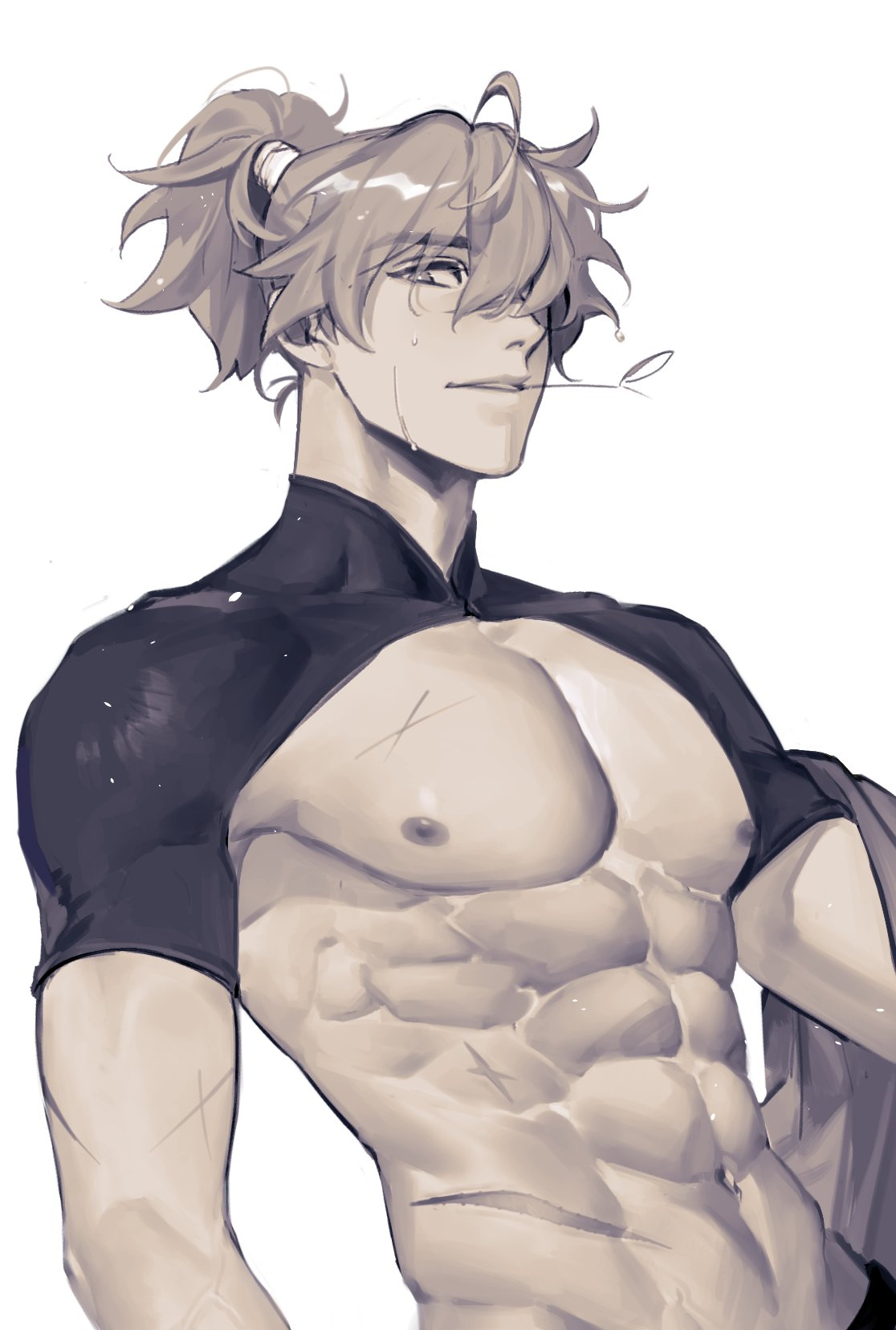 1boy abs ahoge bangs genshin_impact greyscale hair_between_eyes hair_over_one_eye high_ponytail highres k_young03 kazuha's_friend_(genshin_impact) male_focus monochrome mouth_hold muscular muscular_male nipples ponytail scar scar_on_chest shrug_(clothing) simple_background solo sweat upper_body