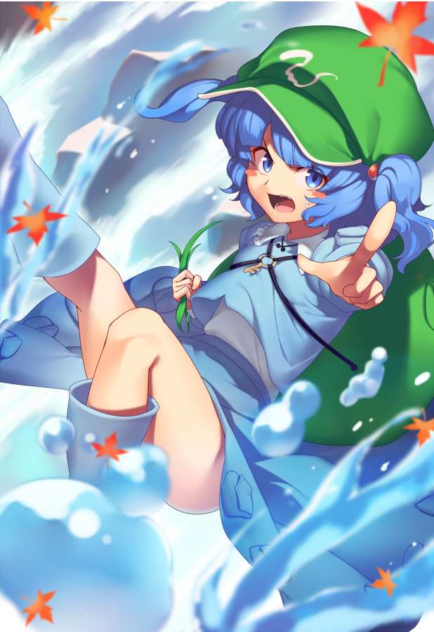 1girl arm_up autumn_leaves bag bangs blue_eyes blue_footwear blue_hair blue_shirt blue_skirt blue_sleeves blush boots collar eyebrows_visible_through_hair eyes_visible_through_hair flying green_bag green_headwear hands_up hat kaiza_(rider000) kawashiro_nitori key leaf long_sleeves looking_at_viewer open_mouth plant pointing pointing_at_viewer river rock shirt short_hair short_twintails skirt solo touhou twintails water white_collar