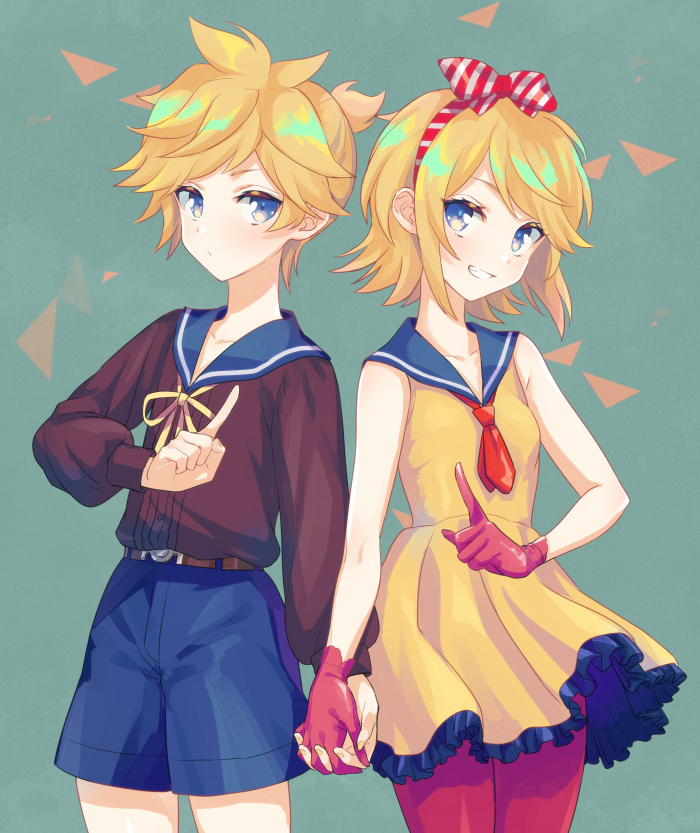 1boy 1girl akiyoshi_(tama-pete) alternate_costume bangs bare_arms belt black_shirt blonde_hair blue_eyes blue_sailor_collar blue_shorts breasts brown_belt clenched_teeth closed_mouth collarbone cowboy_shot dot_nose dress eye_contact facing_viewer frilled_dress frills gloves green_background grin hair_ribbon hairband hand_up head_tilt high_ponytail holding_hands index_finger_raised interlocked_fingers kagamine_len kagamine_rin legs_together long_sleeves looking_at_another neck_ribbon neckerchief pantyhose ponytail puffy_long_sleeves puffy_sleeves red_gloves red_legwear red_neckwear ribbon sailor_collar sailor_dress shiny shiny_hair shirt short_dress short_hair short_ponytail shorts side-by-side sideways_glance simple_background sleeveless sleeveless_dress small_breasts smile striped striped_ribbon swept_bangs teeth triangle tsurime vocaloid yellow_dress yellow_ribbon