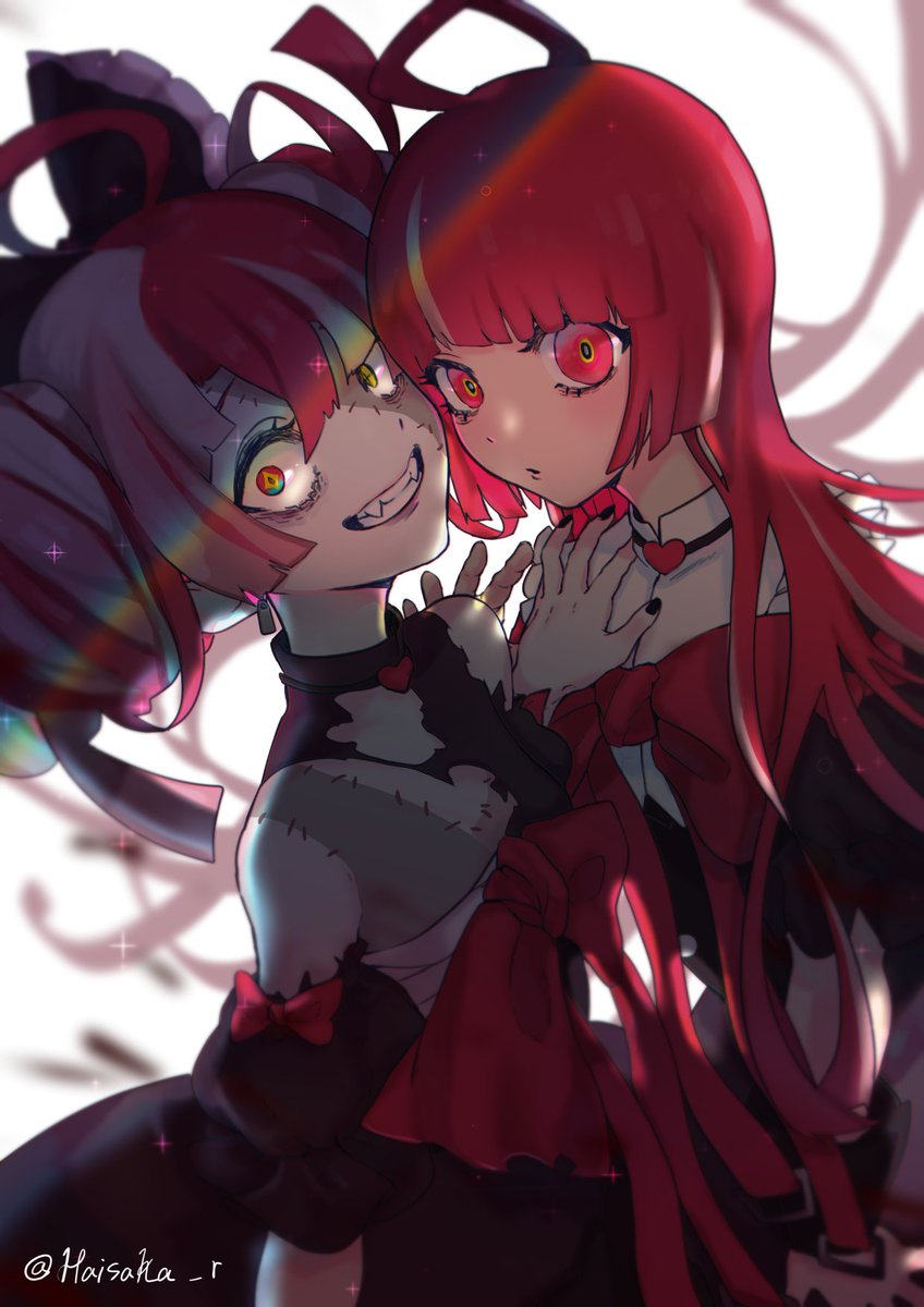 2girls ahoge bangs black_bow black_dress bow colored_skin double_bun dress fangs gradient_eyes green_eyes grey_hair grey_skin hair_bow haisaka_r hand_on_another's_shoulder heterochromia highres hololive hololive_indonesia kureiji_ollie looking_at_viewer multicolored multicolored_eyes multiple_girls olivia_(kureiji_ollie) pink_hair red_bow red_eyes smile torn_clothes torn_dress upper_body virtual_youtuber wide-eyed zombie