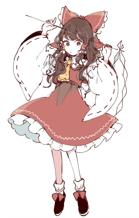 1girl :o arms_up ascot bangs black_footwear bow brown_eyes brown_hair detached_sleeves frilled_bow frilled_shirt_collar frilled_skirt frills full_body gohei hair_bow hair_tubes hakurei_reimu holding long_hair looking_down mozukuzu_(manukedori) red_bow ribbon-trimmed_sleeves ribbon_trim sidelocks simple_background skirt socks solo standing touhou white_background wide_sleeves yellow_neckwear