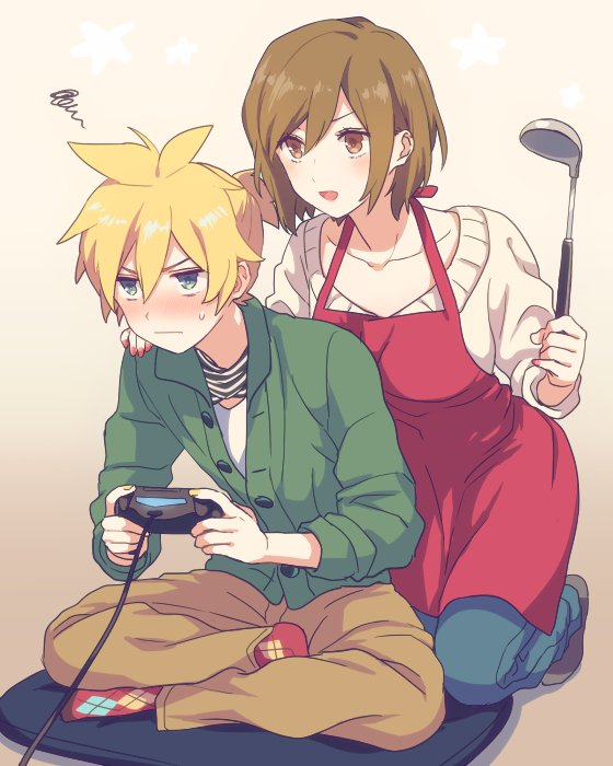 1boy 1girl akiyoshi_(tama-pete) alternate_costume apron argyle argyle_legwear beige_background beige_sweater blonde_hair blue_eyes blush breast_press breasts brown_eyes brown_footwear brown_hair brown_pants casual closed_mouth collarbone denim dot_nose fingernails full_body green_jacket hair_between_eyes half-closed_eyes hand_on_another's_shoulder hand_up high_ponytail holding holding_ladle indian_style jacket jeans kagamine_len kneeling ladle large_breasts light_blush looking_afar meiko nervous no_shoes open_mouth pants partially_unbuttoned pillow red_apron red_legwear scarf shiny shiny_hair shirt shoes short_hair short_ponytail simple_background sitting socks squiggle star_(symbol) starry_background striped striped_neckwear sweater v-shaped_eyebrows vocaloid white_shirt yellow_nails