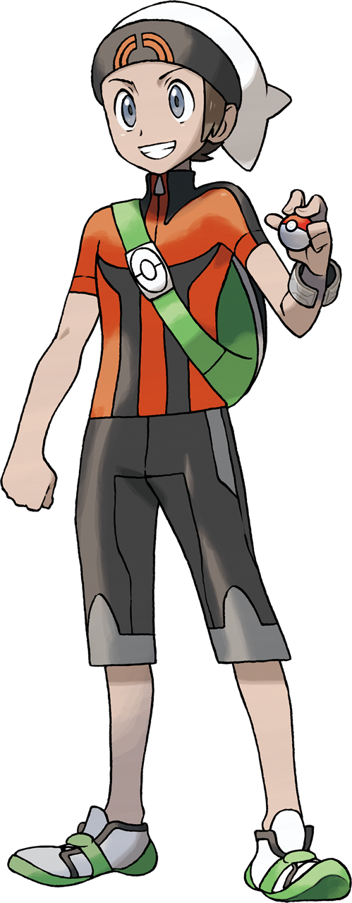 1boy artist_request backpack bag beanie bracelet brendan_(pokemon) brown_hair capri_pants clenched_hand full_body green_bag grey_eyes grin hand_up hat highres holding holding_poke_ball jewelry male_focus official_art orange_shirt pants poke_ball poke_ball_(basic) poke_ball_print pokemon pokemon_(game) pokemon_oras shirt shoes short_hair short_sleeves skin_tight smile solo standing teeth transparent_background white_footwear white_headwear zipper_pull_tab