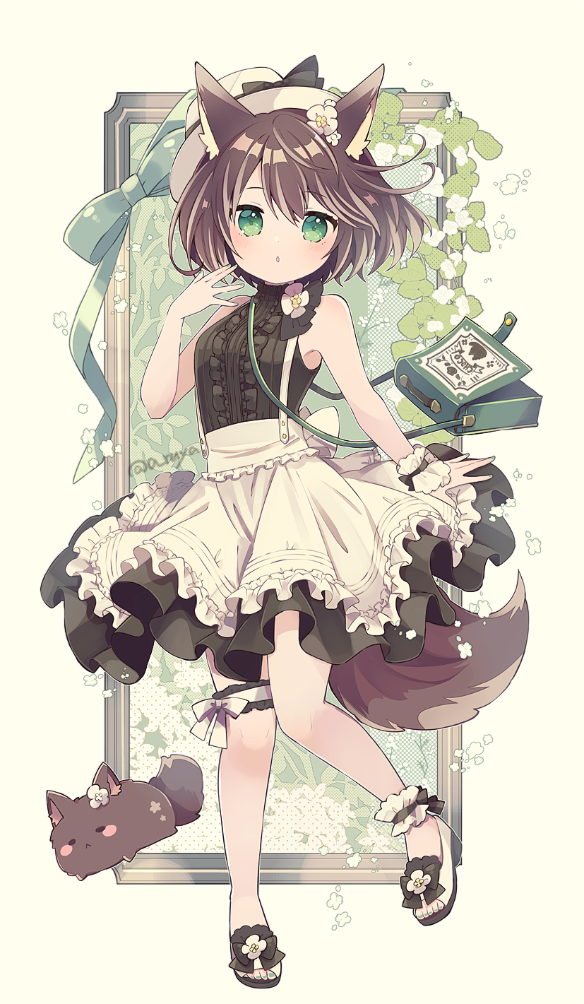 1girl animal animal_ear_fluff animal_ears apron aruya_(flosrota) bag bangs bare_arms bare_shoulders black_dress blush breasts brown_hair center_frills check_commentary commentary commentary_request dog dog_ears dog_girl dog_tail dress eyebrows_visible_through_hair flower frilled_apron frills full_body green_eyes green_nails hair_between_eyes hair_flower hair_ornament hand_up hat highres looking_at_viewer nail_polish original parted_lips sandals shoulder_bag single_wrist_cuff sleeveless sleeveless_dress small_breasts solo standing standing_on_one_leg tail toenail_polish white_apron white_flower white_footwear white_headwear wrist_cuffs