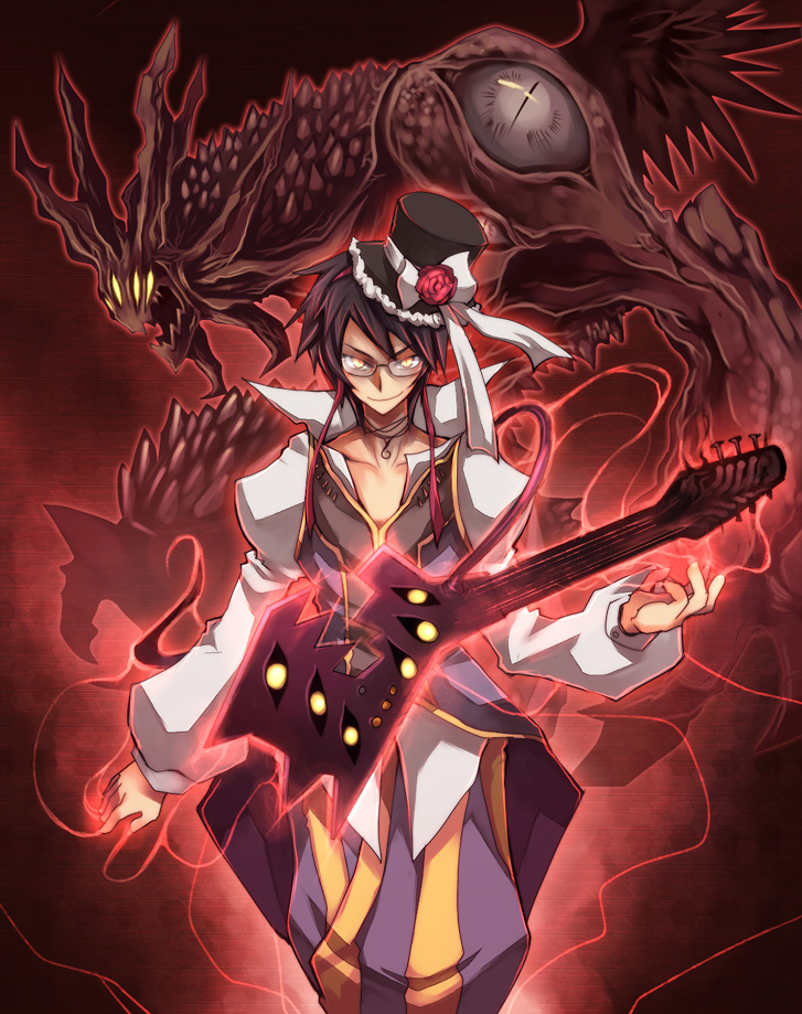 1boy 1other baggy_pants bangs black_hair black_headwear bow choker closed_mouth coat commentary_request demon emon-yu extra_eyes feet_out_of_frame flower glasses glowing glowing_instrument guitar hat hat_bow hat_flower instrument long_sleeves looking_at_viewer minstrel_(ragnarok_online) open_mouth pants purple_coat purple_pants ragnarok_online red_flower rose satan_morroc shirt short_hair sleeveless_coat smile top_hat white_bow white_shirt yellow_eyes