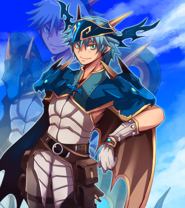 1boy bangs belt blue_hair blue_sky brown_belt brown_cape brown_pants cape character_request closed_mouth clouds commentary_request cowboy_shot creator_(ragnarok_online) crossover dragon dragon_chronicle emon-yu gloves green_eyes hair_between_eyes helmet horns living_clothes looking_at_viewer pants pouch ragnarok_online shirt short_hair sky sleeveless sleeveless_shirt smile solo white_gloves white_shirt