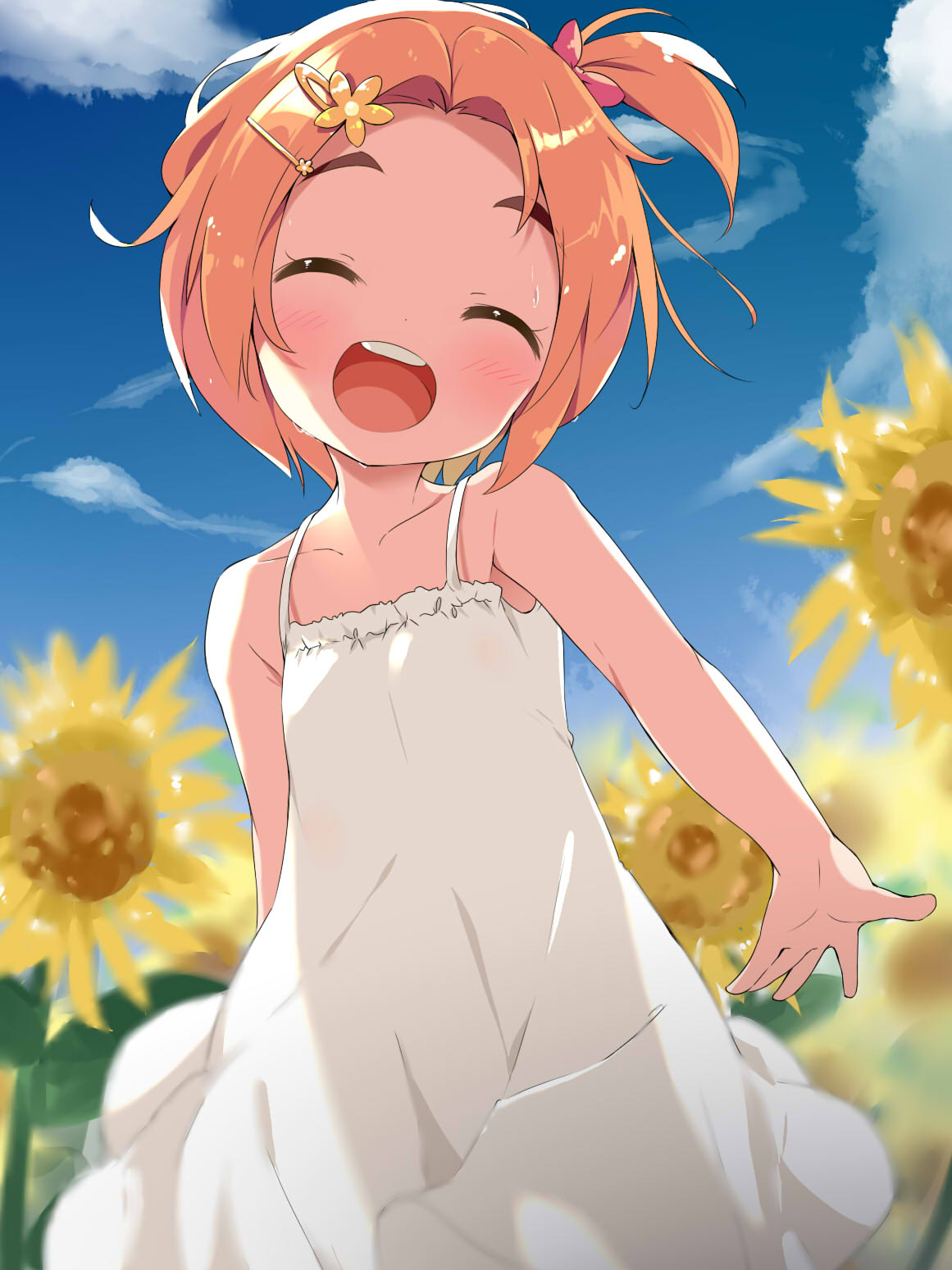 1girl :d ^_^ bangs bare_arms bare_shoulders blurry blurry_background blush bow brown_hair child closed_eyes collarbone commentary_request day depth_of_field dress facing_viewer field flower flower_field forehead hair_bow hair_flower hair_ornament hairclip highres idolmaster idolmaster_cinderella_girls makuran one_side_up open_mouth outdoors parted_bangs pink_bow round_teeth ryuuzaki_kaoru short_hair sleeveless sleeveless_dress smile solo sunflower teeth thick_eyebrows upper_teeth white_dress yellow_flower