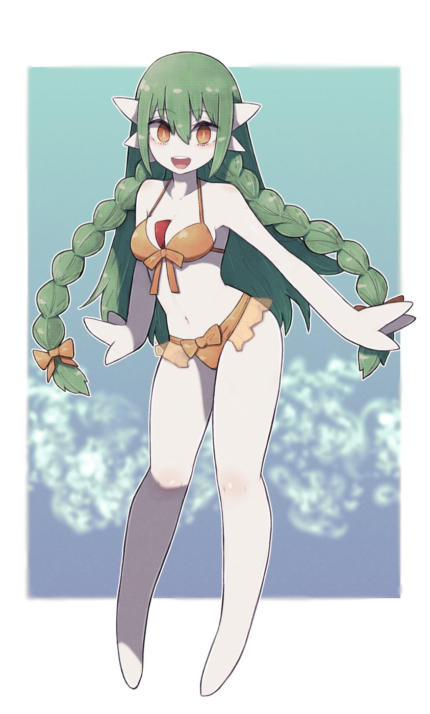1girl :d alternate_hairstyle animal_ears arms_at_sides bikini blue_background border bow bow_bikini braid breasts colored_skin commission fewer_digits frilled_bikini frills front-tie_bikini front-tie_top full_body gardevoir gen_3_pokemon hair_between_eyes head_fins highres lamb-oic029 long_hair looking_at_viewer medium_breasts navel no_feet open_mouth orange_eyes pokemon pokemon_(creature) skeb_commission smile solo swimsuit twin_braids very_long_hair white_border white_skin yellow_bikini