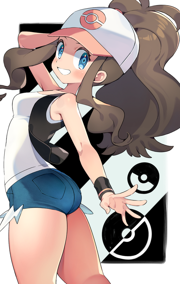 1girl arm_up armpits ass bare_shoulders baseball_cap black_vest blue_eyes blush breasts brown_hair commentary_request cowboy_shot denim denim_shorts exposed_pocket from_side grin hat high_ponytail hilda_(pokemon) iroyopon long_hair looking_at_viewer multicolored multicolored_clothes multicolored_headwear outstretched_arm poke_ball_symbol pokemon pokemon_(game) pokemon_bw shirt short_shorts shorts sidelocks small_breasts smile solo tank_top thick_thighs thighs vest white_shirt wristband
