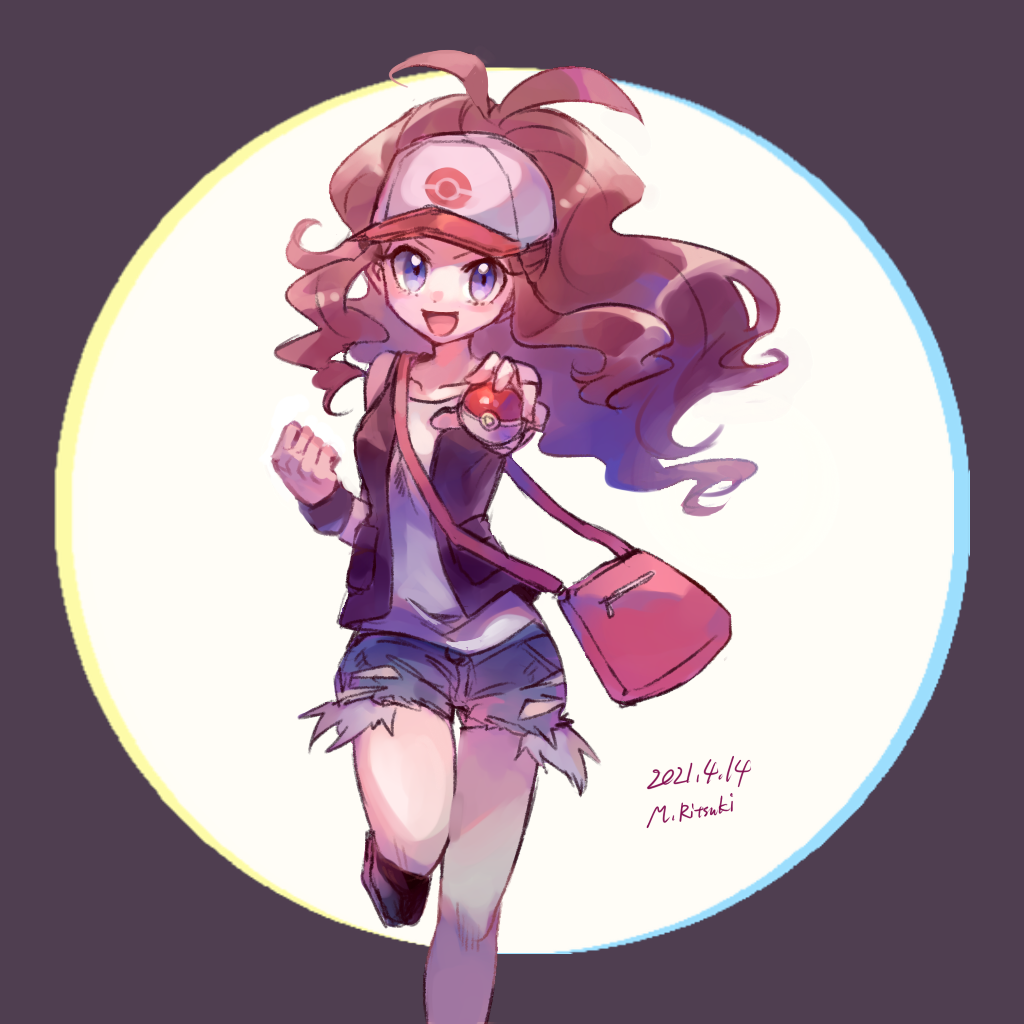 1girl :d antenna_hair bag baseball_cap brown_vest clenched_hand commentary_request dated floating_hair grey_shorts hat hilda_(pokemon) holding holding_poke_ball knees leg_up long_hair looking_at_viewer open_clothes open_mouth open_vest pink_bag poke_ball poke_ball_(basic) pokemon pokemon_(game) pokemon_bw ritsuki_mino shirt shoes short_shorts shorts shoulder_bag sidelocks sleeveless sleeveless_shirt smile solo tongue vest violet_eyes white_shirt wristband