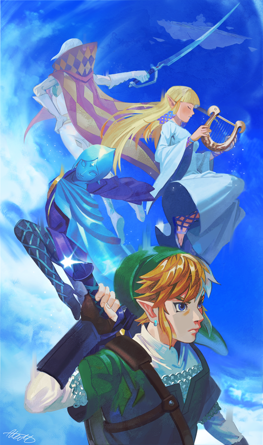 2boys 2girls back bangs blank_eyes blonde_hair blue_eyes blue_hair blue_skin blue_sky brown_gloves cape closed_eyes closed_mouth clouds colored_skin commentary dress ear_piercing english_commentary fi fingerless_gloves forehead_jewel ghirahim gloves green_headwear green_tunic hair_between_eyes holding holding_instrument holding_sword holding_weapon instrument jewelry link long_hair looking_away lyre master_sword multiple_boys multiple_girls outdoors pale_skin pantyhose piercing pointy_ears princess_zelda red_cape sheath sheathed shiny shiny_hair shiny_skin short_hair sidelocks sky sword the_legend_of_zelda the_legend_of_zelda:_skyward_sword tunic uzucake weapon white_dress white_gloves white_hair wide_sleeves