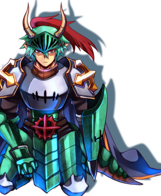 1boy alternate_color armor bangs blue_cape breastplate cape closed_mouth commentary_request cross dragon_tail emon-yu full_body gauntlets green_armor green_hair hair_between_eyes horns kneeling leg_armor looking_at_viewer lord_knight_(ragnarok_online) male_focus pauldrons plume pointy_ears ragnarok_online red_eyes shaded_face short_hair shoulder_armor simple_background solo spiked_gauntlets tabard tail visor_(armor) white_background