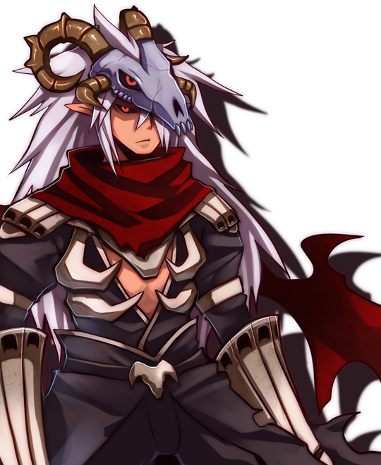 1boy armor assassin_cross_(ragnarok_online) bangs black_cape black_pants black_sclera black_shirt cape closed_mouth colored_sclera commentary_request cowboy_shot emon-yu hair_between_eyes horns long_hair looking_at_viewer open_clothes open_shirt pants pauldrons pointy_ears ragnarok_online red_eyes red_scarf scarf shirt shoulder_armor simple_background skull skull_on_head solo torn_cape torn_clothes torn_scarf vambraces very_long_hair waist_cape white_background white_hair