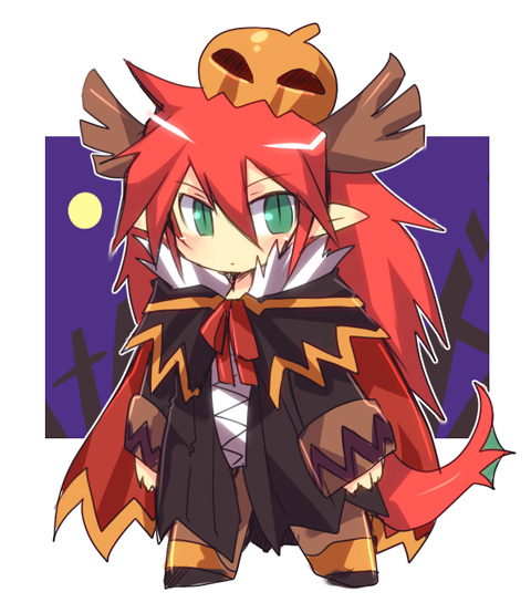 1boy alchemist_(ragnarok_online) alternate_color antlers bangs black_cape black_coat blush cape chibi closed_mouth coat commentary_request dragon_boy dragon_tail emon-yu eyebrows_visible_through_hair full_body fur-trimmed_cape fur_trim green_eyes hair_between_eyes jack-o'-lantern long_hair looking_at_viewer male_focus pointy_ears pumpkin pumpkin_on_head ragnarok_online redhead slit_pupils solo standing tail very_long_hair white_background
