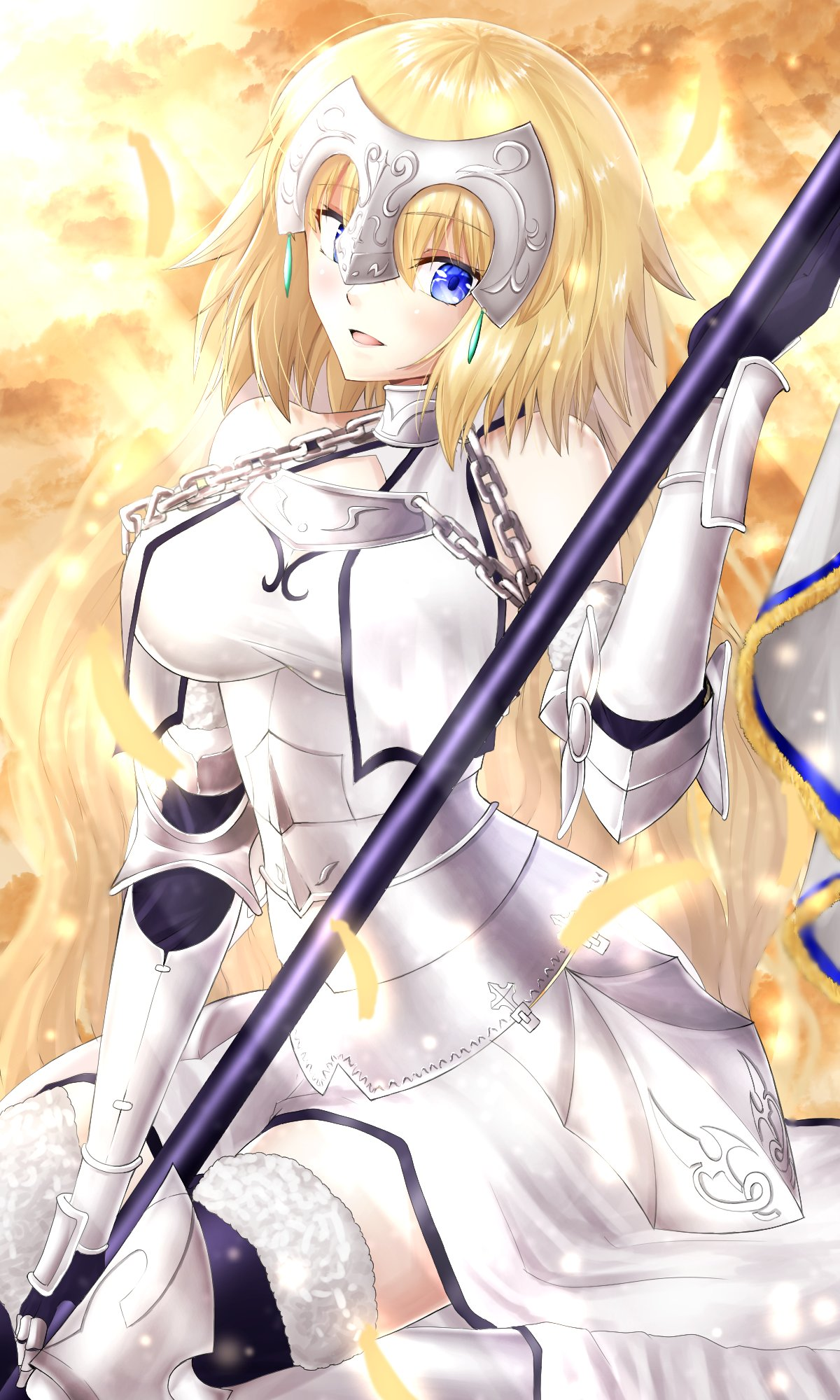 1girl armor armored_dress bangs blonde_hair blue_eyes blush breasts chain collar dress fate/apocrypha fate/grand_order fate_(series) faulds flag gauntlets headpiece highres ilsa34660285 jeanne_d'arc_(fate) jeanne_d'arc_(fate)_(all) large_breasts long_hair looking_at_viewer metal_collar open_mouth plackart polearm sitting smile very_long_hair weapon white_dress
